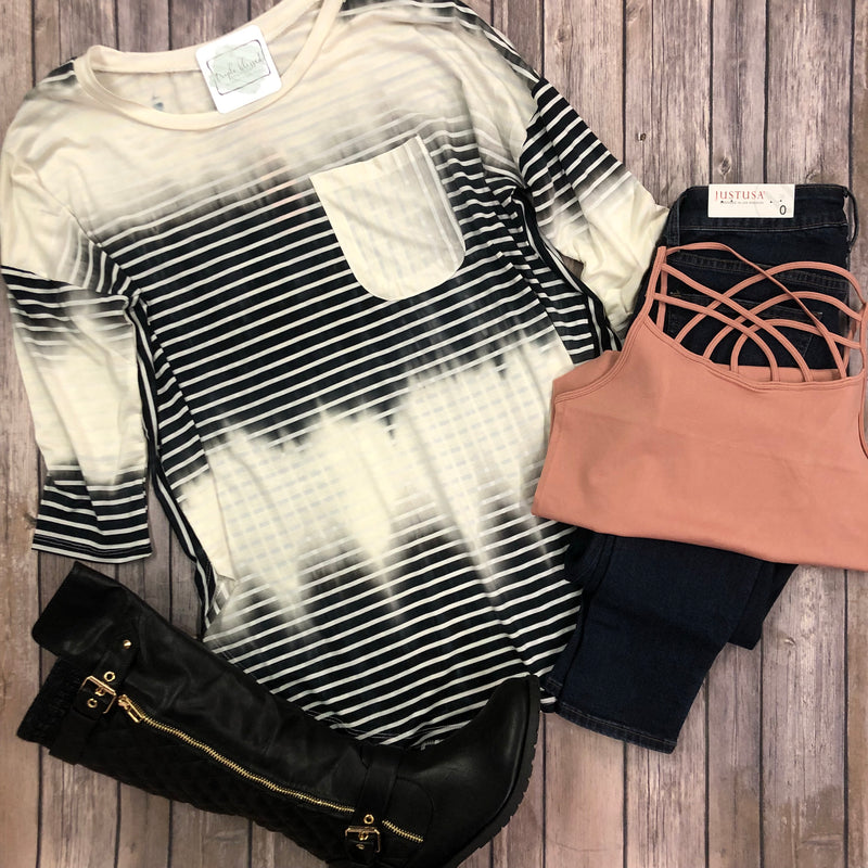 Tie-Dye Stripe Pocket Top