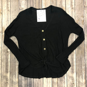 Tie Front Button Up Waffle Knit