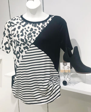 LEOPARD AND STRIPE BLOCK TOP