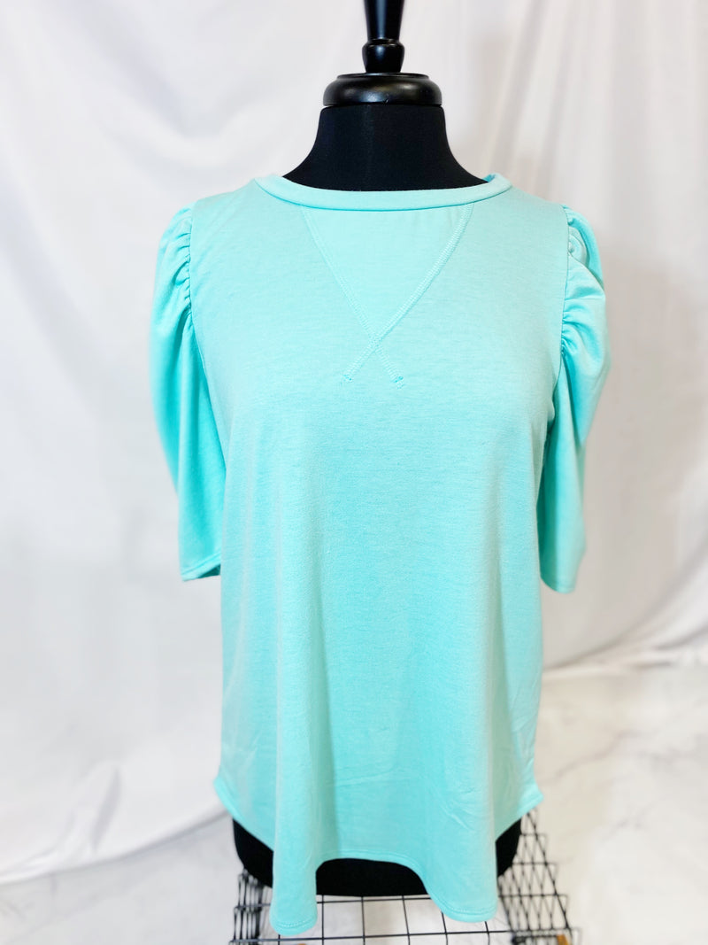 FRENCH TERRY TOP WITH GATHERED PUFFY SLEEVES