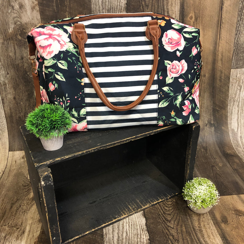 STRIPES/Floral Weekender Bag