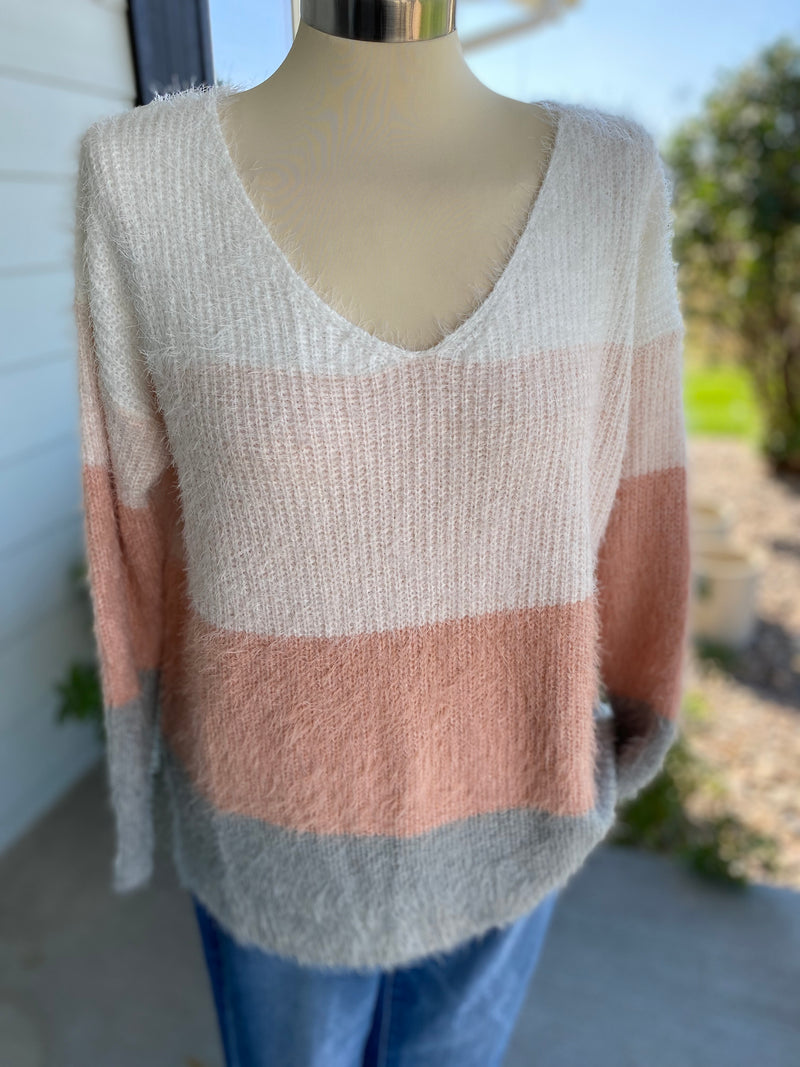 Multi Color Block V Neck Knit Sweater