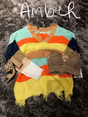 Chunky Color Block Distressed