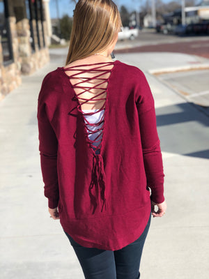 Lace Up Back Sweater