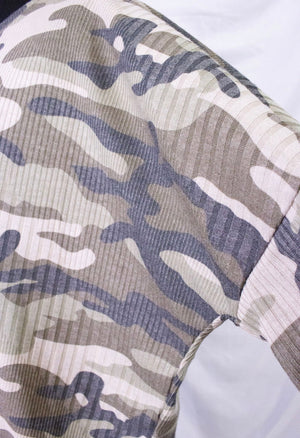 Ribbed Army Print Oversized