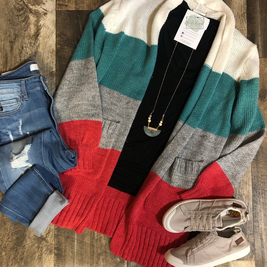 Color Block Open Cardigan