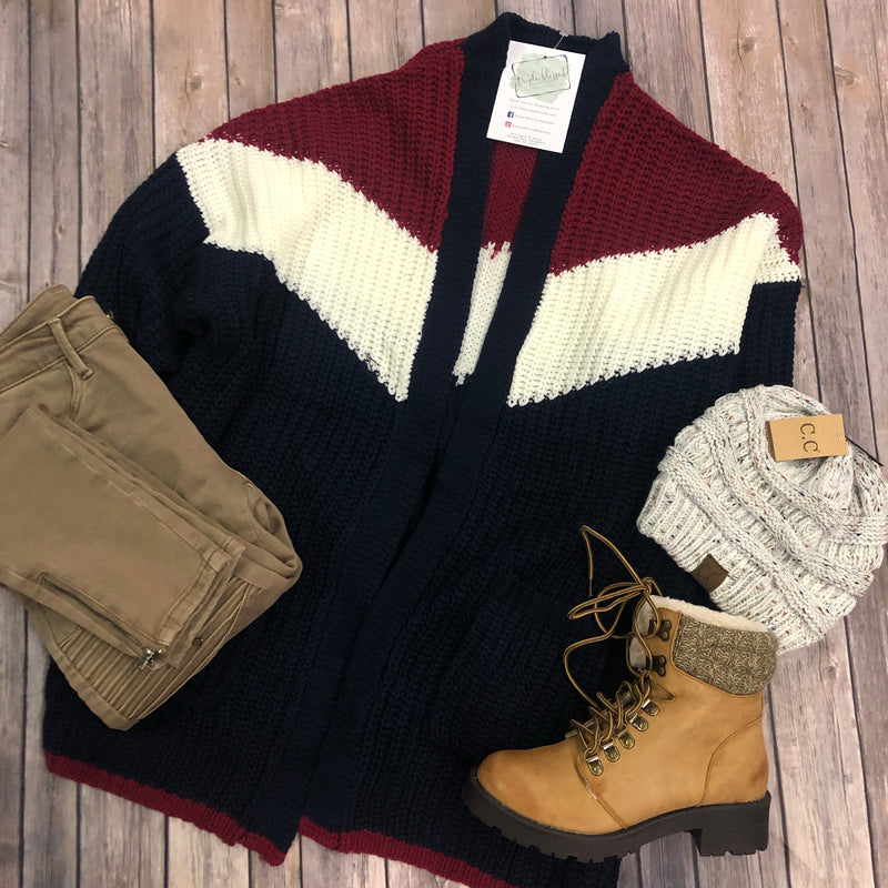 Tri-Color Pattern Cardigan