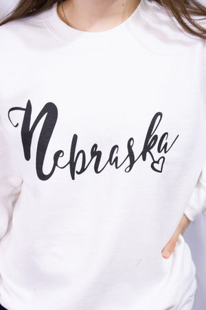Nebraska w/Heart Sweatshirt-WHITE