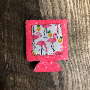 Flamingo Hot Pink Sequin Koozie