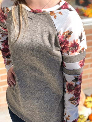 Floral Baseball Sleeve Sweater