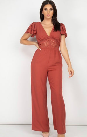 V Neck Lace Jumpsuit Marsala