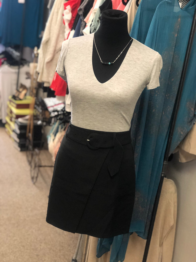 Classic Belted Mini Skirt