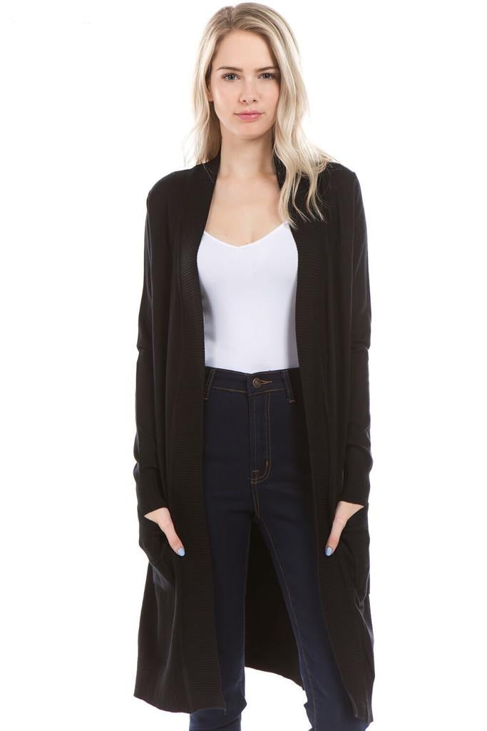 Long Knit Cardigan Solid