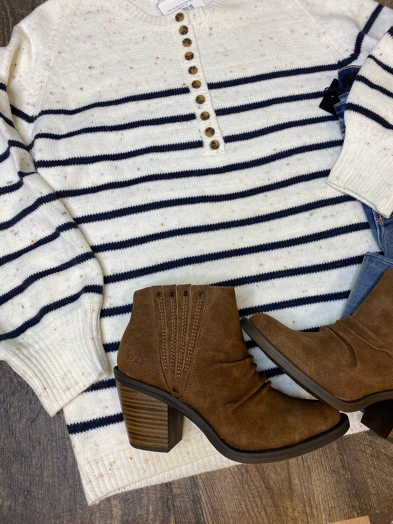 Stripe Long Sleeve Button Down Sweater
