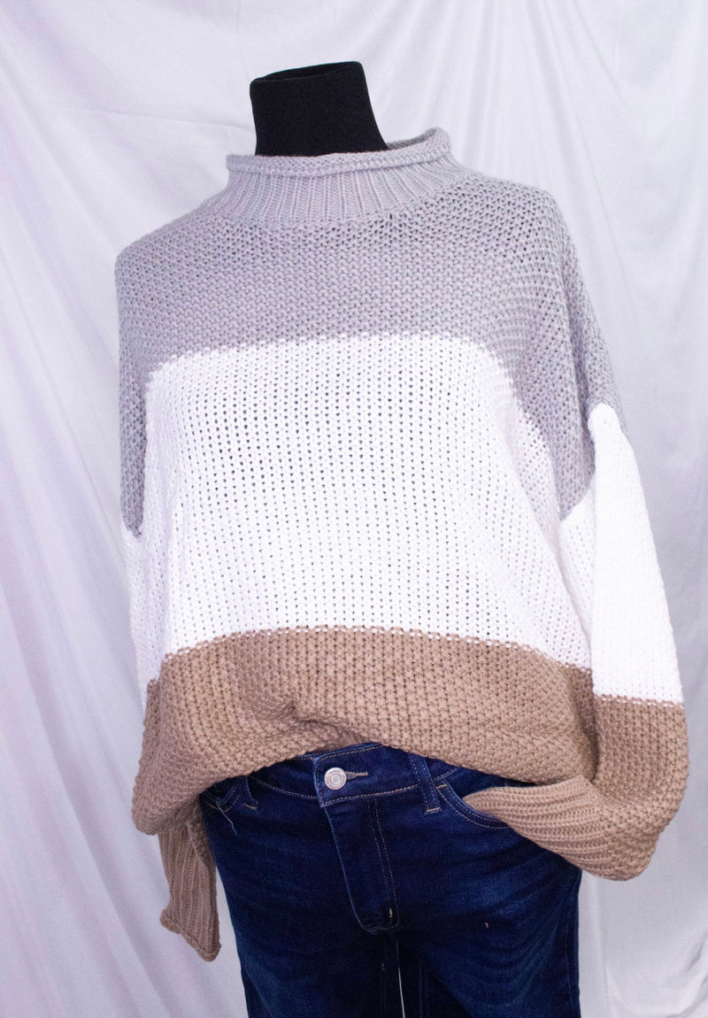 Color Block Grey & White Sweater