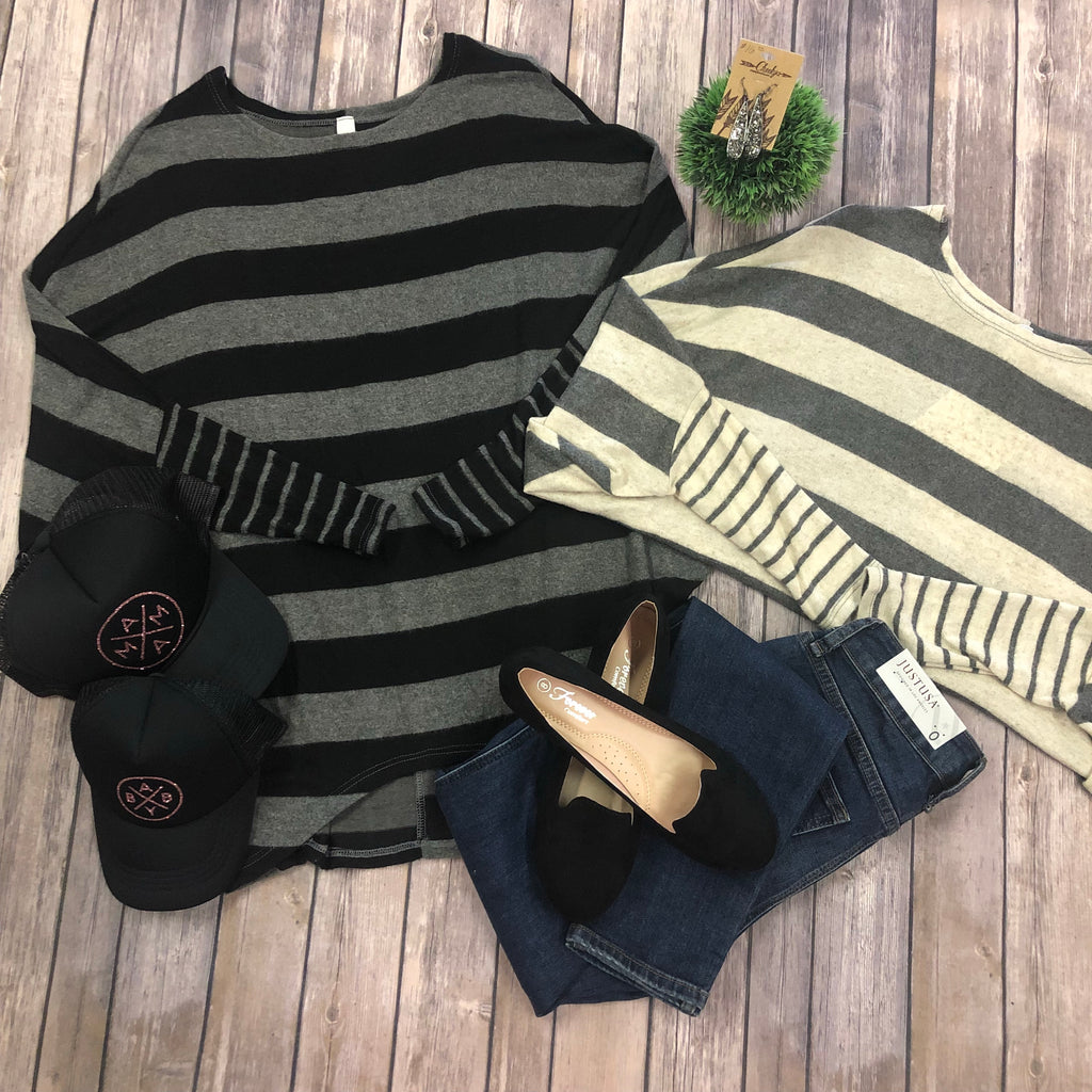 Mixed Striped Dolman Top