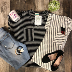 Stripe V-neck Short Sleeve Top