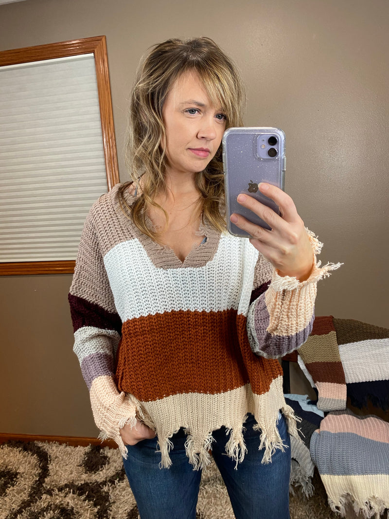 Distressed Chunky Striped V Neck Sweater