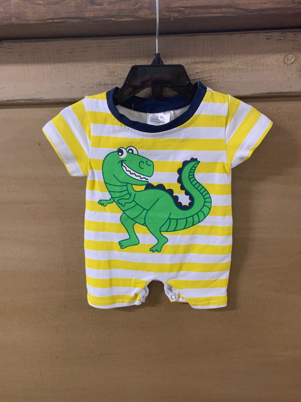 Yellow Stripe Dinosaur Romper