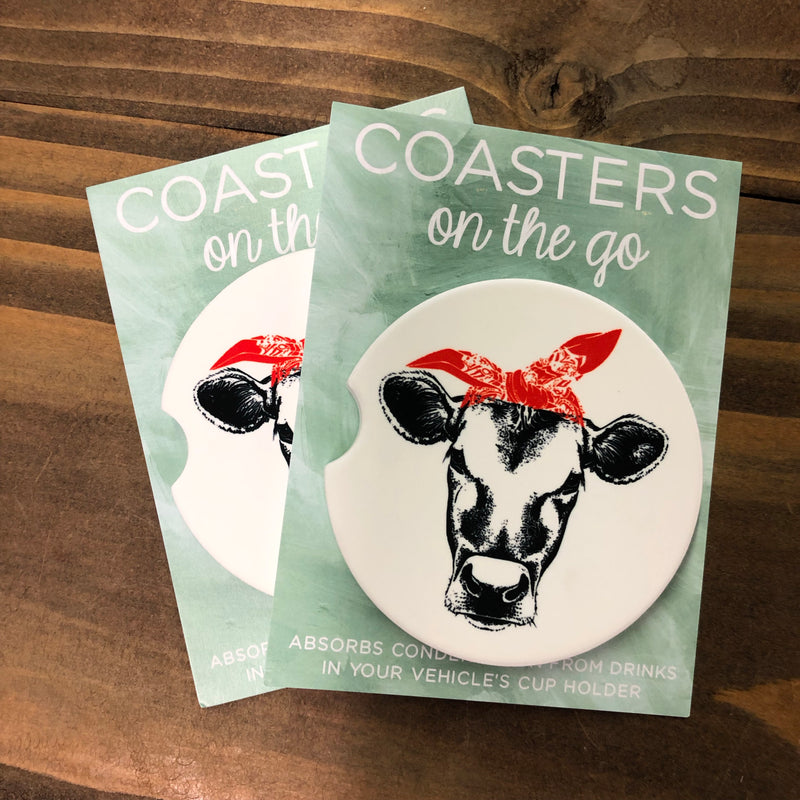Coasters on the Go—Cow Bandana
