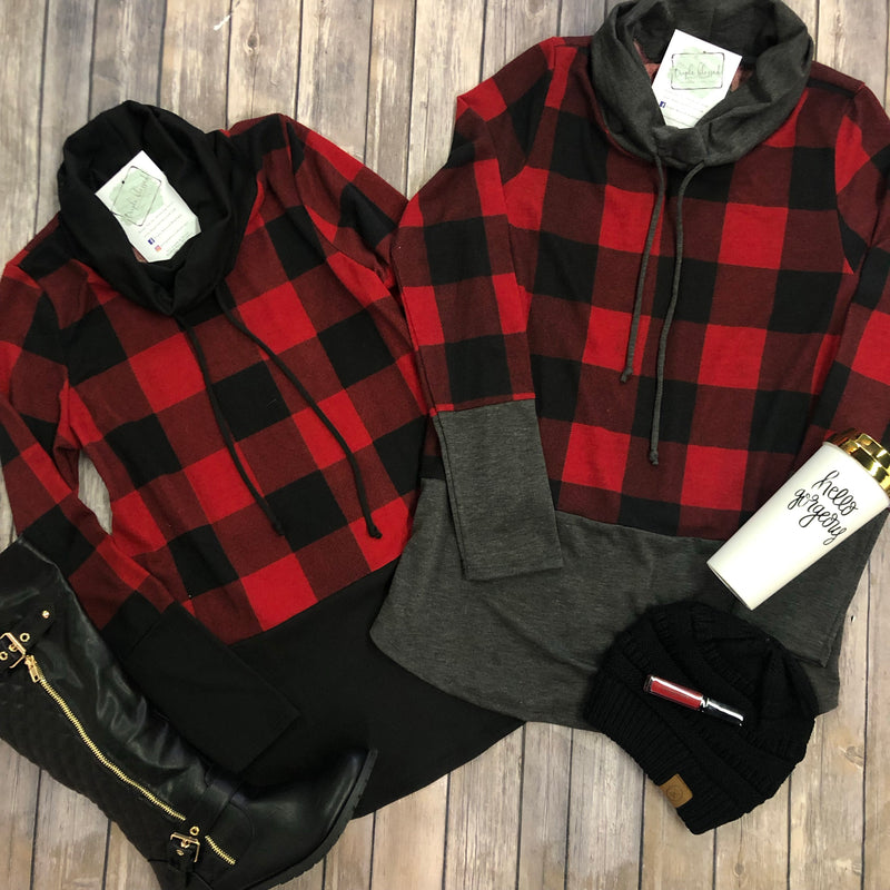 Buffalo Plaid Cowl Neck Pullover