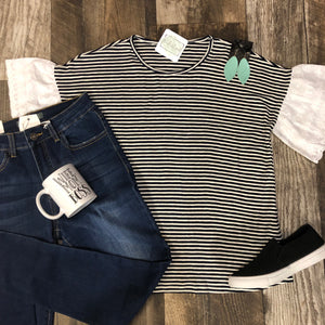 Striped Eyelet Sleeve Top