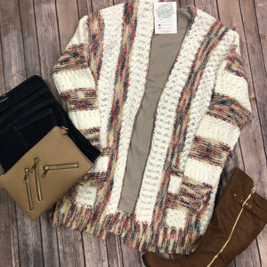 Long Stripe Cable Knit Cardigan