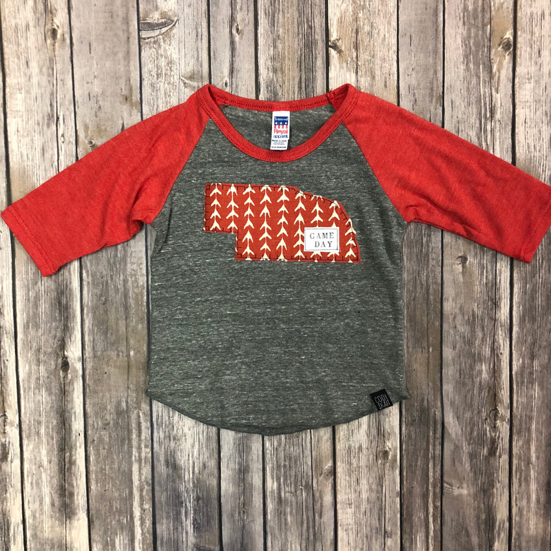 Nebraska State Raglan Sleeve-Game Day