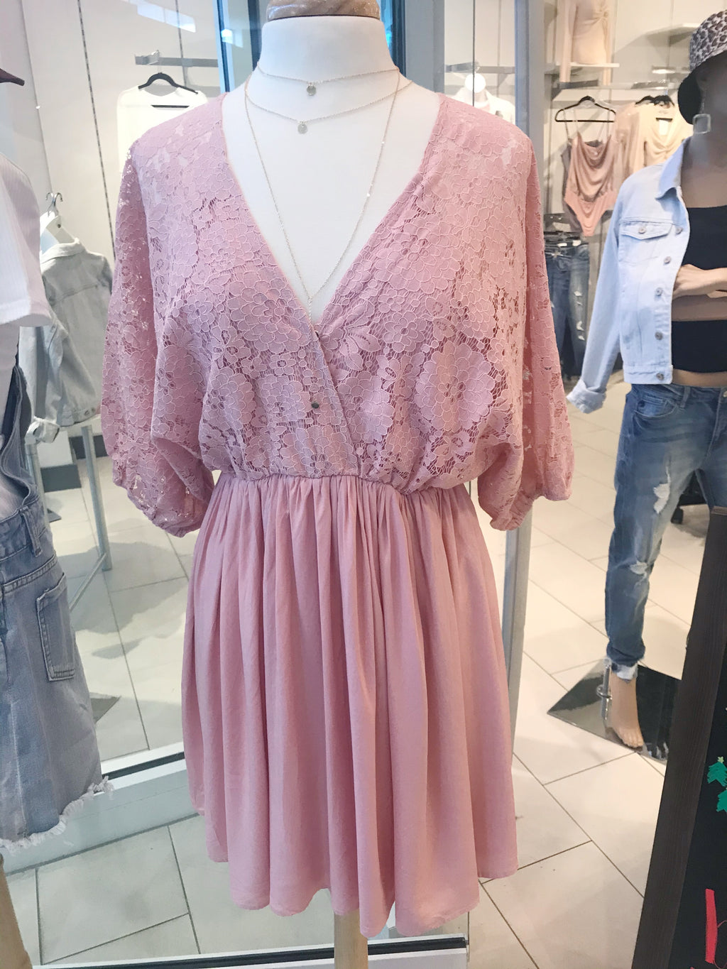 LACE TOP WOVEN DRESS WITH A TIE AT THE BACK