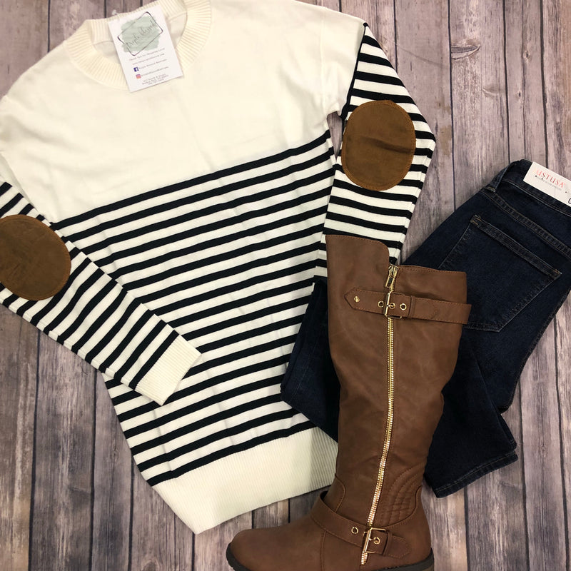 Stripe Sweater with Elbow Patches