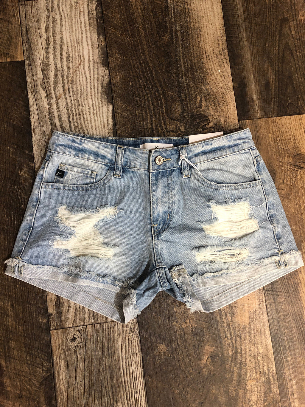 Kancan Light Wash Distressed Shorts