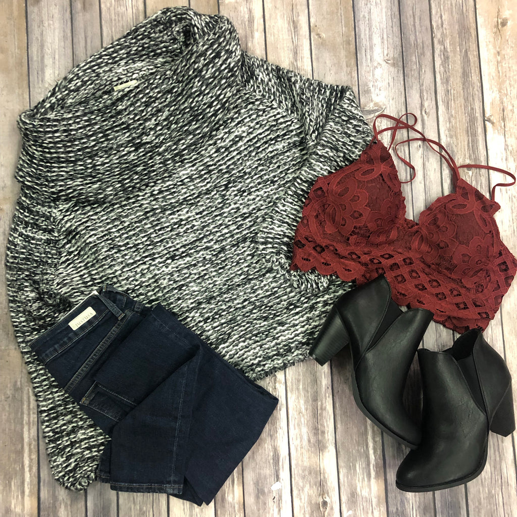 Off the Shoulder Two-Tone Sweater