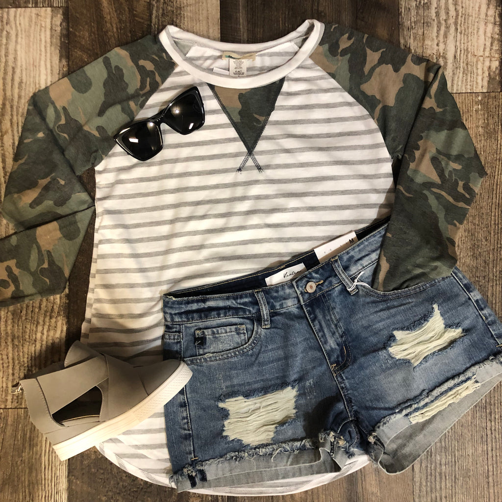 Camo Sleeve Striped Top