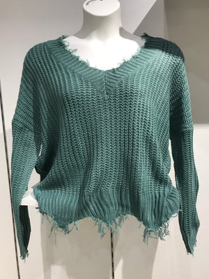 Frayed V Neck Sweater