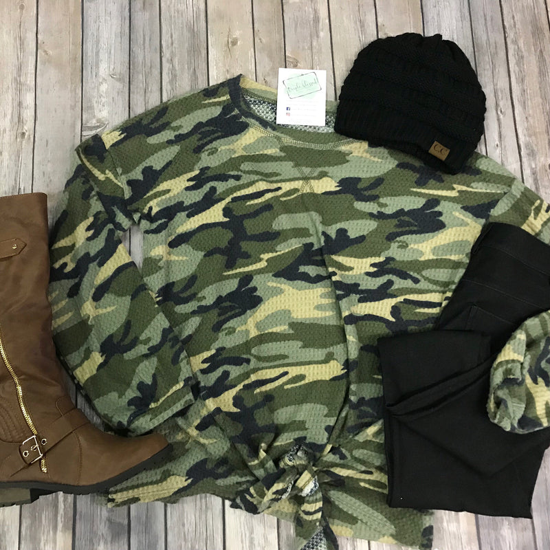 Camo Round Neck Front Tie Top