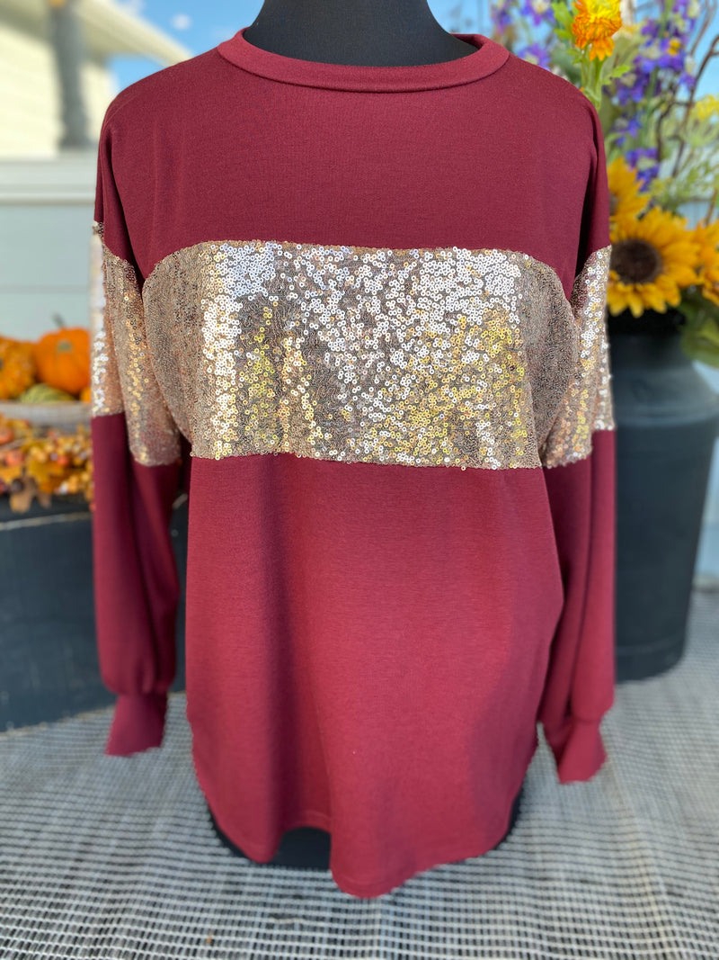 COLOR BLOCK SEQUIN DETAIL TOP