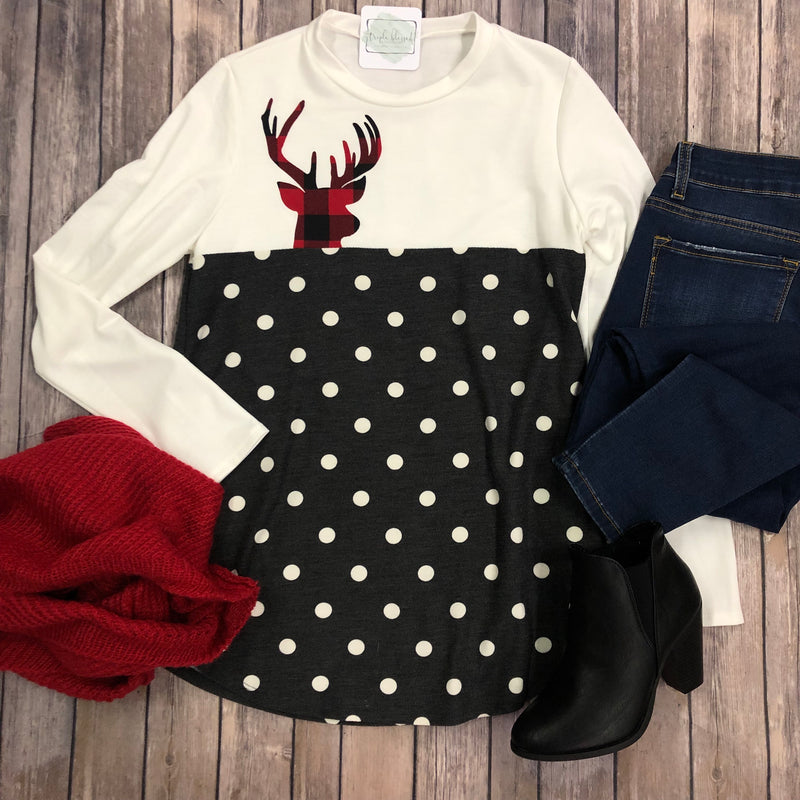 Polka dot Reindeer Top