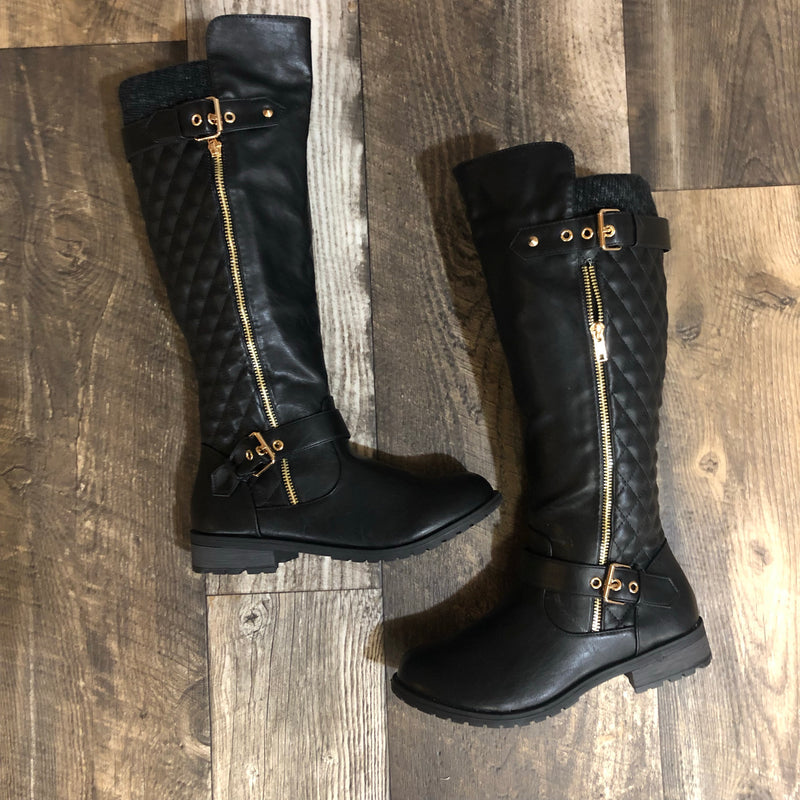 Quilted Back Riding Boot