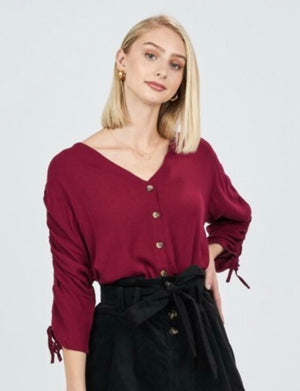 Cinch Sleeve Button Front Blouse
