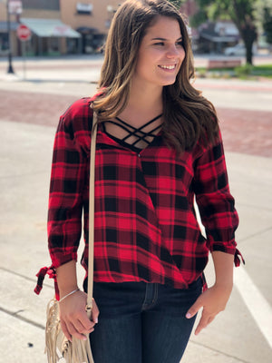 Plaid Crossover Front Top