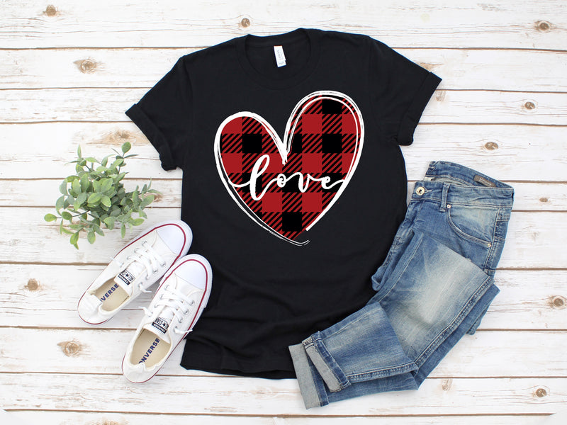 Buffalo Plaid Love Tee