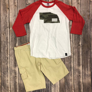 Nebraska State Raglan Sleeve-Camo Future Legend