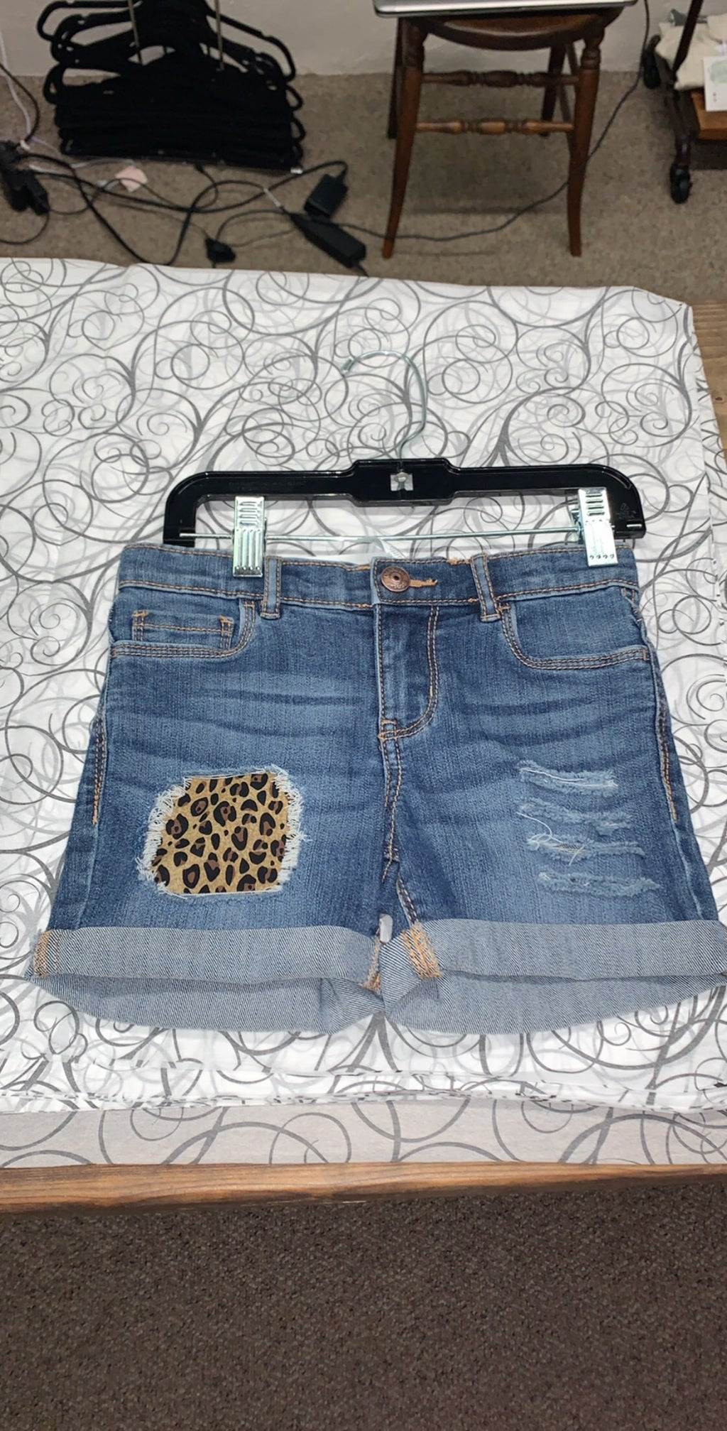 Denim Shorts Leopard