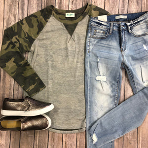Camouflage Sleeve Top