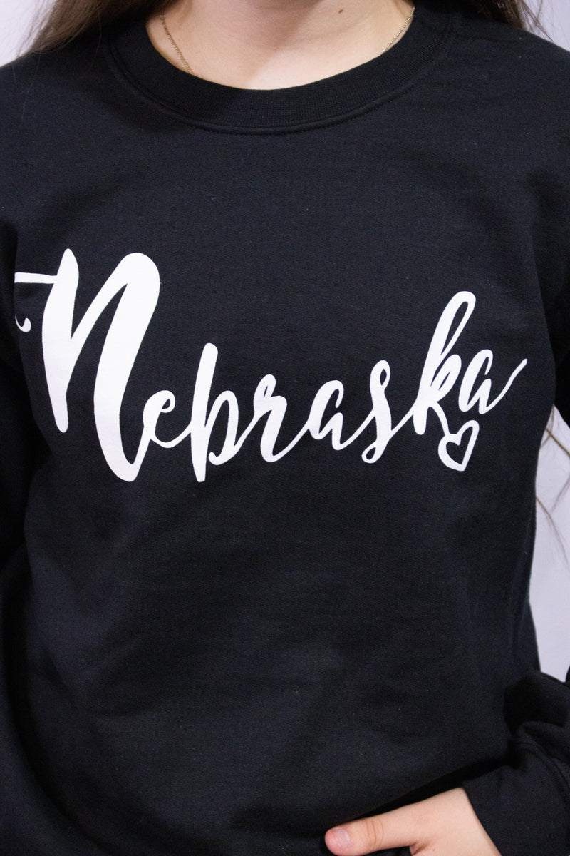 Nebraska w/Heart Sweatshirt-BLACK