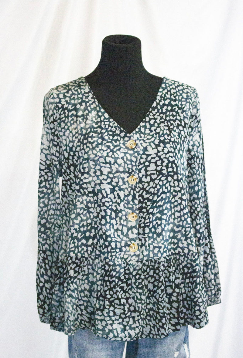 Leopard v neck button down peplum blouse