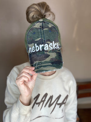 Camo Nebraska Ponytail Hat