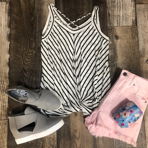 Stripe Twist Sleeveless Tank