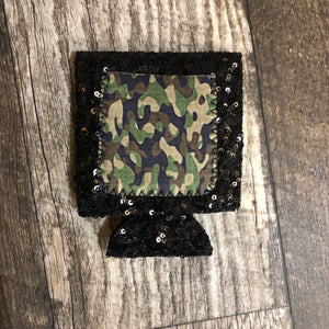 Camo Black Sequin Koozie