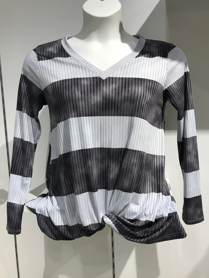 V Neck Striped Twist Top